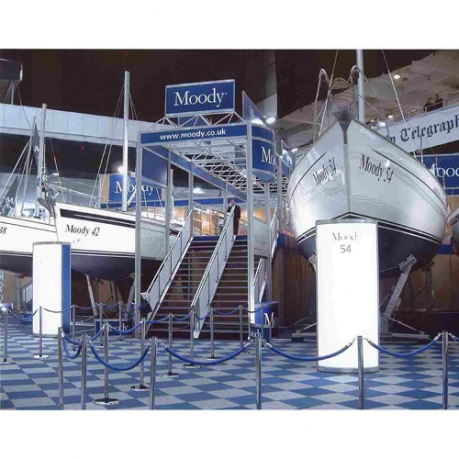 two storey exhibition stand with stairs